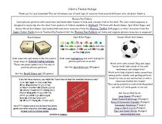This set includes one of each type of resource from several different sets, all about Silent e. You get the Silent e information from the Phonics Fun Folders set, a game board from the Phonics Patterns Game Board Set, a page from the Spot and Dot Phonics Patterns set, and a Soccer Sort Game. (Soccer...