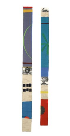 """""""In Conversation"""" woven tapestries can be hung vertically or horizontally.h163cmx13cm & 153cmx10cm"""