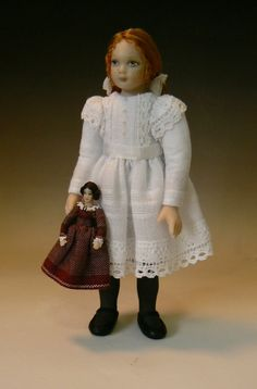 1:12 Scale Dollhouse Little Girl With Her China Doll by Debbie Dixon-Paver