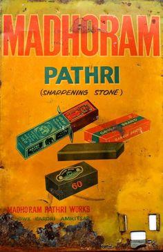 India Madhoram Pathri Sharpening Stone Advertising Tin Sign Board Size 14.5x9.5