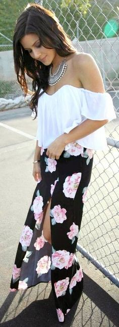 Asos Black Flowy Floral High Split Maxi Skirt by The Honeybee