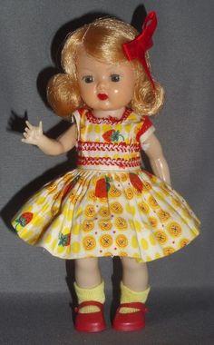 Vintage Nancy Ann Storybook Muffie doll 1956 RARE Strawberry dress 505-4