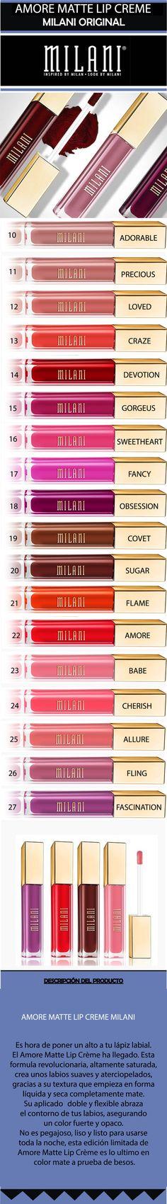 Kit 4 Labiales Amore Matte Lip Creme  Milani Original - $ 1.280,00