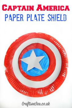 Captain America Paper Plate Shield - Crafts on Sea This Captain America shield DIY uses paper plates to make a toy that kids will love to play with. A superhero craft idea that's great for dressing up! Superhero First Birthday, Birthday Party Games, Boy Birthday, Spy Party, Summer Camp Crafts, Camping Crafts, Summer Fun, Camping Games, Summer Bucket