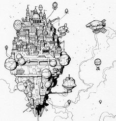 Wonderfully detailed #penandink #airship #illustration by an illustrator with the handle  @thisnorthernboy  on Instagram. Theres a really interesting #juxtaposition of #architectural and #technological styles in this #drawing  First you have the #steampunk style #dirigible and various #hotairballoon #flyingmachines. All of those #flyingships are docked or #flying around a #medieval style castle or is it a stacked #city? Or #skyscrapers? Whatever they are (besides really cool looking) they…