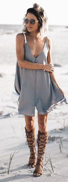 Grey Slip Dress Source