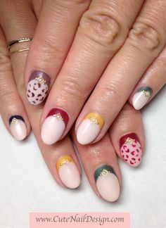 ♥Cute Nail Design♥ » Pictures of Pretty Nail Designs » Fall Colors Leopard Matte Nails