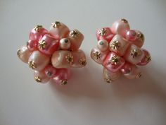 Vintage JAPAN Pink Clip Earrings. $6.00, via Etsy.