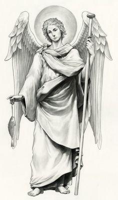 Catholic Art, Religious Art, Elefante Tribal, Religion Tattoos, Archangel Tattoo, Bible Tattoos, Heaven Tattoos, Statue Tattoo, Angel Drawing