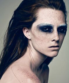 dark makeup, white eyebrows, freckles