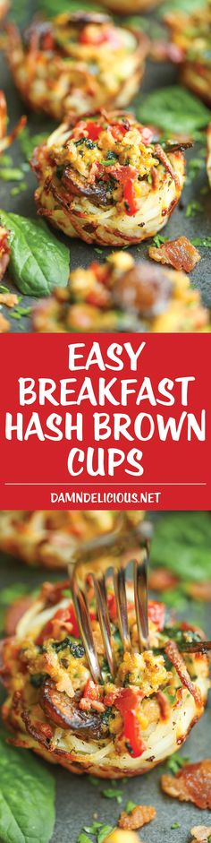 Breakfast Hash Brown Cups - Tender-crisp hash browns topped with eggs, bacon, spinach and mushrooms. Easy to make and so perfect to serve large crowds!