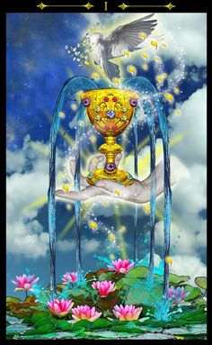 Ace of cups~ fertility, new beginnings. A new way of feeling. Intuition. Inspiration. Abundance. Good things overflowing. Love. Gaining your hearts desire. Feeling emotionally contented. Romanticism. Beauty. Good news.