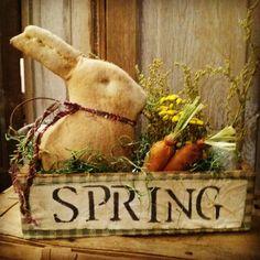 Primitive Rabbit  Spring Vintage box Easter by MeNtheGirls on Etsy