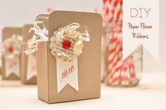 Diy Paper Flower Ribbons For Guest Favors - Weddingomania Paper Flower Decor, Paper Flower Backdrop, Diy Paper, Paper Crafts, Diy Fleur, Diy Cans, Flower Packaging, Idee Diy, Scrapbook