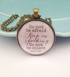 Bible Verse Necklace Christian Necklace Quote Pendant by MinMac