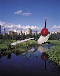 Spoonbridge and Cherry, Claes Oldenburg and Coosje van Bruggen, Minneapolis Sculpture Garden - Understated elegance ala flatware.