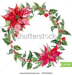 watercolor vector Christmas wreath poinsettia plant, tree, fruit,