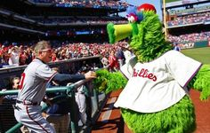 Chipper returns the keys that he stole to the Phillie Phanatic's ATV