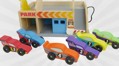 Learn Colors and Counting Numbers Play with Toy Cars for Kids and a truck. Let's play a game to learn colors and counting with colorful wooden toy cars and a car carrying truck. Six toy cars arrive on big truck and have to be unloaded. We count the cars and learn the colors. We later play with the toy service station. Cars can go up and down the elevator car lift and park at the parking deck. There's also a car toy garage. The back has a car wash where the toy cars can get shiny clean. A gas…