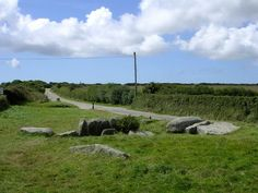 "TREGIFFIAN BURIAL CHAMBER: 'situated near the bottom of the field of the Merry Maidens, and on the road side. This Tregiffian (there are two) is from the Cornish ""tre guhyen"" and means 'wasp-infested farm'. The area is interesting with a ""bargaining stone"" nearby.' 'The bargaining stone is a large gate post with a hole all the way through, and I was informed by my dad, where people shook hands through when sealing a deal.'     ✫ღ⊰n"