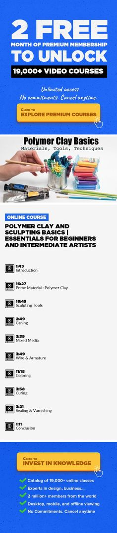 Polymer Clay and Sculpting Basics   Essentials for Beginners and Intermediate Artists Fine Art, 3D Modeling, Polymer Clay, Creative, Clay, Textures, Sculpting, Home Decor #onlinecourses #onlinelessonsactivities #learningathomeactivities    In this class I am sharing with you everything I know and learned during my over 10 year experience using polymer clay on a daily basis. I will show you the mat...