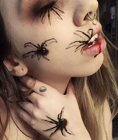 LOVE THIS! I really love spiders so this definitely doesn't creep me out ✨ Done by @ashleighsolida ✨ TAG YOUR HALLOWEEN MAKE UP #worship13gallery #halloweenmakeup