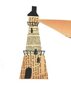 Lighthouse of Alexandria- great way to teach kids history of one of the Seven Great Wonders of Ancient Times School Art Projects, Art School, Lighthouse Art, Newspaper Crafts, Book Week, Help Kids, Beach Crafts, Recycled Crafts, Nova Scotia