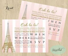 Pink and Gold Paris Theme Bridal Shower - Bridal Shower, Wedding Shower, Invitations, Invites, Shower, Paris, eiffel tower, striped, pink