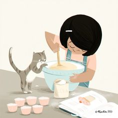 Cooking Class Illustration - - How Cooking Cake - Cooking Together Fun - Cooking Breakfast Recipes - Cupcake Illustration, Children's Book Illustration, She And Her Cat, Illustration Mignonne, Cat Art, Illustrators, Creative, Character Design, 3d Character