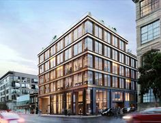 531 Bryant Street will see an existing two-story industrial building replaced with a 65-foot tall structure. The construction will yield 49,290 square... Building Development, Central Business District, Construction Cost, Modern Aesthetics, Time Photo, Ceiling Windows, Building Materials, Facade, Brick