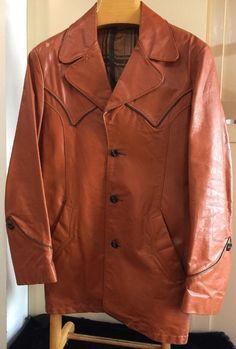 Mens VINTAGE LEATHER BLAZER Jacket Western Sport Coat Size 40R    eBay