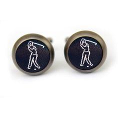 Golf cufflinks in matt black