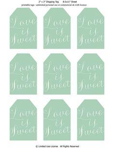 Printable Love Is Sweet Tags Mint Digital