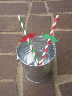 Christmas Mustache Straws  Red and Green  by MalibuandFlipFlops, $9.00