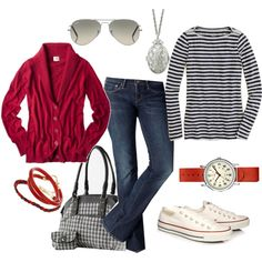 Around the house and in town winter casual. I love the red along with the blue stripes. Fun to see.