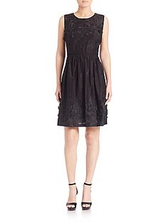 Elie Tahari Kia Embellished Cotton Dress - Black - Size