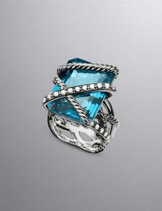 Cable Wrap Ring, Hampton Blue Topaz, 20x15mm
