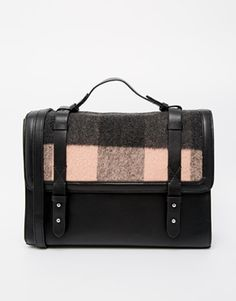 ASOS Brushed Check Satchel Bag