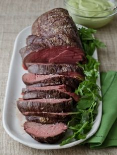 Slow-Roasted Filet of Beef with Basil Parmesan Mayonnaise --Ina Garten