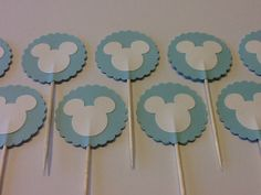 24 Baby Blue & White Mickey Mouse / Minnie Mouse Cupcake Toppers, Disney Party, Mickey Mouse Birthday via Etsy