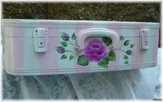 painted suitcase by Backwoods Cottage