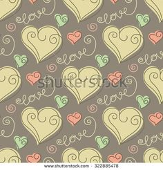 Seamless pattern with doodle stylized hearts and words love. Hand drawn vector illustration - stock vector
