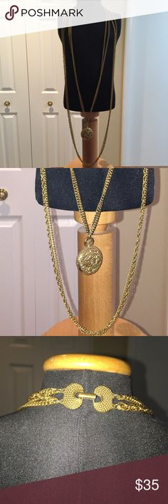"""Necklace Multi-strand necklace. Heavy chain metal marked  """"Goldette N.Y.""""4 strands. Shows signs of wear on locket faces. Jewelry Necklaces"""