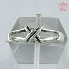 """2 gm """"X"""" Design 925 Sterling Silver 7 US Ring Band R4023 #SilvexImagesIndiaPvtLtd #Band #AllOccasions"""
