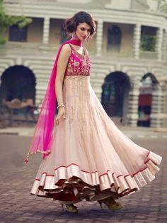 Cream Net Anarkali Suit With Resham And Zari Work www.saree.com
