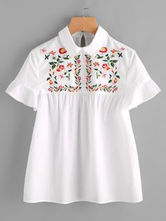 Short Sleeve Blouses. Top Decorated with Embroidery, Button, Frill. Designed with Collar. Regular fit. Perfect choice for Casual wear. Floral design. Trend of Summer-2018. Designed in White. Fabric has no stretch.