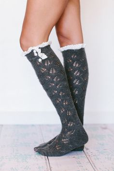 51521a248 Lace Knitted Boot Socks Boot Topper with Buttons Open Lace Knit
