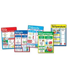 """This informative, measurement-themed bulletin board set includes 5 charts measuring 17"""" x 24"""" each and a comprehensive resource guide."""