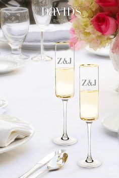 Cheers! Raise a glass to a lifetime of love with personalized champagne flutes. Find glassware for your style at David's Bridal.