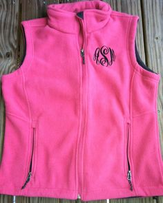 Monogrammed Fleece Vest – Southern Touch Monograms